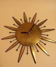 Metà del secolo in ottone a sole Orologio Vintage