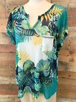 New~$36~ARCHITECT Women XL Plus Navy-Blue/Yellow-Tropical Cap-Sleeve Blouse Top