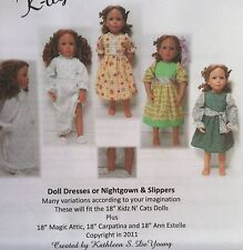 "18"" Kidz N Cats, Magic Attic, Ann Estelle & Carpatina Dolls Clothing Pattern"