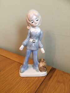 Vintage Retro Kitsch Woolbro 1970s Ceramic Girl Figurine In Flared Trousers