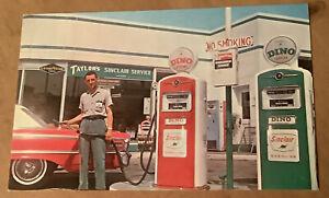 Jefferson Indiana Postcard gas station Taylor's Sinclair service dino gasoline