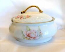 Vintage Porcelaine Diana Rumanía Plato Ovalado Con Tapa caja de la baratija Flor Adorno de oro