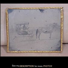 Antique 1/2 Plate Tintype Photograph Horse and Buggy / Carriage