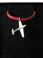 "Messerschmitt Bf 109 Aircraft c19 English Pewter On 18"" Red Cord Necklace"