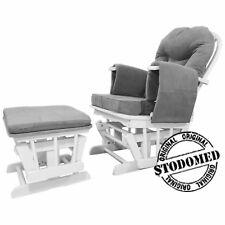 Stillstuhl Entspannungsstuhl Schaukelsessel GLIDER Holz weiß GRAU TV Sessel