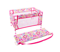 Girls Doll's Bed Cot Doll's Travel Bed Pink Doll's Furniture Pretend Play LEGLER