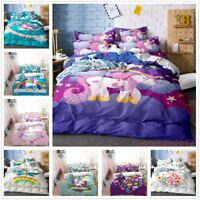 3D Cartoon Unicorn Duvet Cover Set Kids Rainbow Comforter Cover Bedding Set Gift