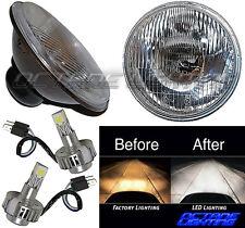 "7"" Stock Glass Lens / Metal Headlight LED 6000K 18/24w Light Bulb Headlamp Pair"