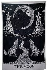Indian Tapestry Wall Hanging Howling Wolf The Moon Tapestries Throw Bed Black UK