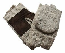 Men's Ragg Wool Convertible Fingerless Lined Gloves With Mitten Covers