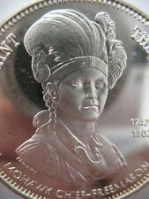 7/8-OZ  JOSEPH BRANT FREEMASON BROTHERHOOD MASONIC ART COIN SILVER .925 +GOLD