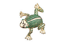 Decorative Enamel Faberge Trinket Jewel Box Frog with crystals 3 x 7.5 x 8 cm