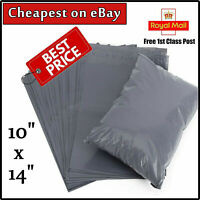 """50 STRONG POLY MAILING BAGS 10"""" x 14"""" POSTAGE POSTAL QUALITY SELF SEAL GREY UK"""