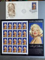 1995 MARILYN MONROE: Legends of Hollywood Mint Sheet 20 32¢ Stamps And FDCover