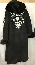 DKNY Fur Coat Heavy Black Suede Shearling Lined Embroidered With Hood Size L