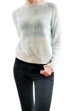 Wildfox Damen New White Label Pullover Blau Weiß Check Größe S