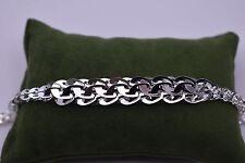 Graduated Interlocked Byzantine Bracelet Real Sterling Silver 925 White HSN