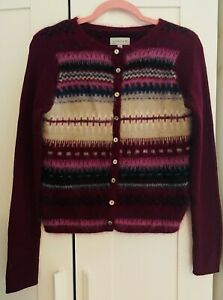 Ladies JIGSAW Cardigan Angora/Wool Blend Winter Warm Burgundy UK M Size 10/12