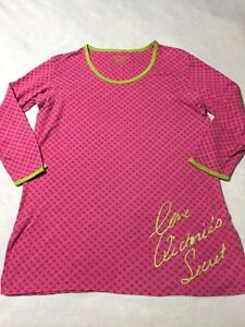 Victoria's Secret L Large Pink Green Star Love Short Cotton Nightgown Pajamas