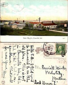 Evansville IN Baker Mfg CO Postcard Used (42090)