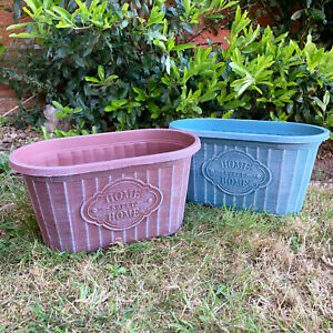 Home Sweet Home Oval Garden Patio Lawn Trough Planter Flower Herb Window Box New