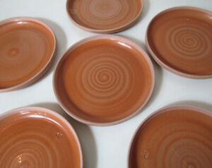 Sarrguemines 6 assiettes plates en grès Vintage