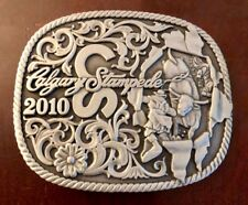 2010 CALGARY STAMPEDE BELT BUCKLE Cowboy on Bull  RODEO Canada PEWTER Souvenir