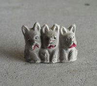 """Vintage 1940s Small Occupied Japan Celluloid Three Dogs Figurine 1"""" Tall"""