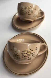 Vintage Swiss Stoneware Coffee Tea Cups & Saucers-Beautiful Hand painted [2 Set]