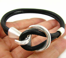 925 Sterling Silver Horse Tack Snaffle Horsebit Black Leather Bracelet 19cm
