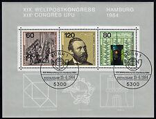 Bund Block 19 FDC SStpl. Weltpostkongress Hamburg 1984