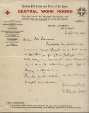 1916 BRITISH RED CROSS & ORDER ST. JOHN, CENTRAL WORK ROOMS, PICCADILLY, LETTER