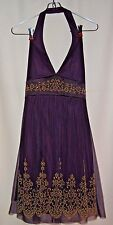 TABOO Purple Mesh Knit Dress Size M Gold Floral design Halter