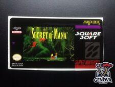 Secret of Mana Snes Replacement Game Label Sticker Precut
