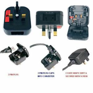 USA TO UK Plug Adapter Power USA Japan China 2 Pin To UK 3 Pin Fused Made in UK