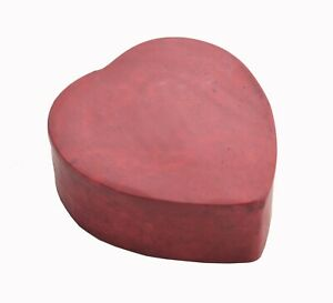 Hand Carved Stone Box Heart Shape Decorative Box Red Polished Gift Made In India