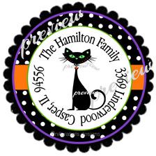 Halloween Black Kitty Cat Amp Polka Dots 120 Round Address Labels Glossy Amp Matte