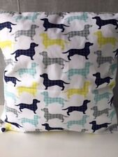 """'Dog Gone It' Dachshunds Covered 16"""" x 16"""" Cushion Cover in White"""