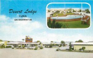 Desert Lodge Swimming Pool Yuma Arizona roadside MWM Postcard Hwy 80 20-9465