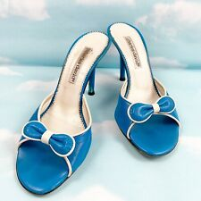 Charles David Womens Leather Bow Mule Slides Sandals, Blue Size 7 US