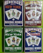 playing cards unopened 4 decks, baseball & football teams. New York, Washington