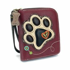 NWT CHALA MAROON PAW DOG PUPPY ZIPPERED WALLET FAUX LEATHER CREAM