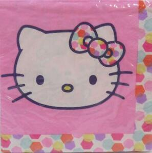 Hello Kitty Lunch Napkins Dots and Bows Design 16 per Package Birthday Party