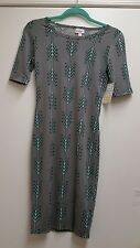 LuLaRoe Julia Dress Gray With Arrow Pattern BNWT Size XXS