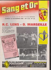 FOOTBALL  PROGRAMME RC LENS-OLYMPIQUE DE MARSEILLE 22 NOVEMBRE 1986