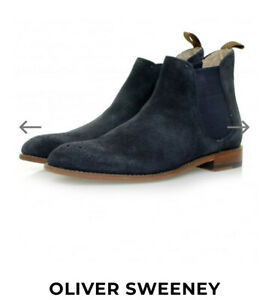 Oliver Sweeney Foxhall Slip On Chelsea Suede Leather Boots Navy UK 10.5 /44.5