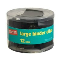 """Staples Large Metal Binder Clips Black 2"""" Size with 1"""" Capacity 831610"""