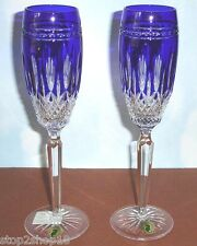 Waterford CLARENDON Champagne Flutes Cobalt Set of 2 104801 New In Box