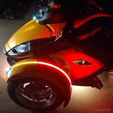 Set Red Amber Dual Color Fender Channel Flex LED Strip Can Am Spyder RS ST RT F3
