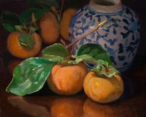 Original oil painting still life realism persimmons porcelain jar 10x8  Y Wang
